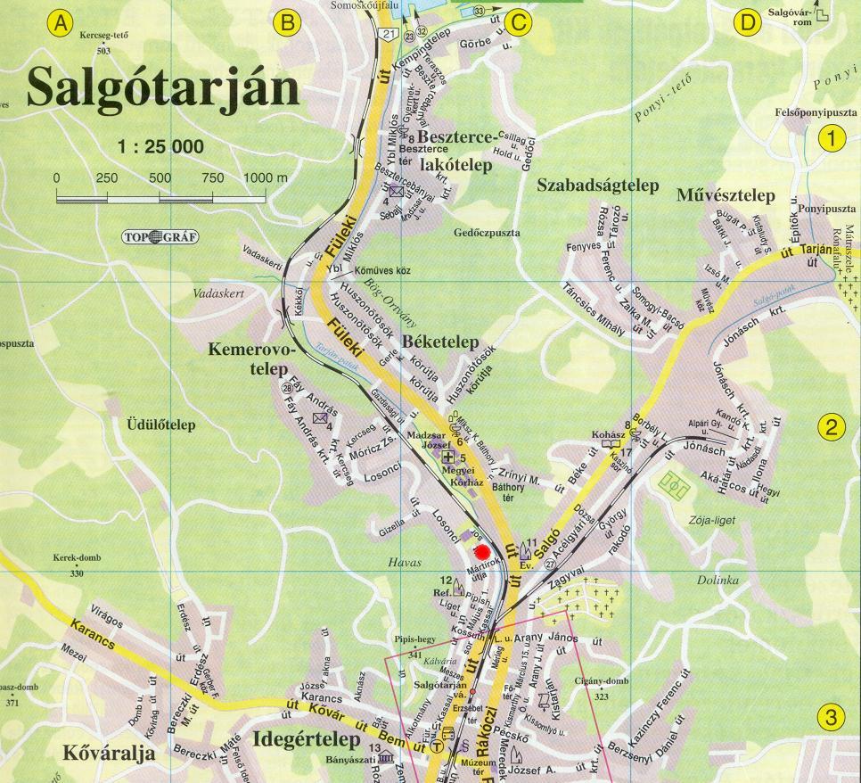 a Salgótarjáni Körzeti Földhivatal elhelyezkedése (térkép)